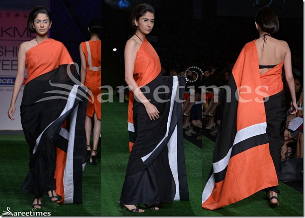 Shivan_And_Naresh_Black_Oragnge_Saree