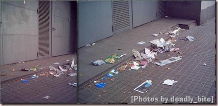 Basura en las inmediaciones de Pl. España; A.Z., Barcelona, 19/06/06