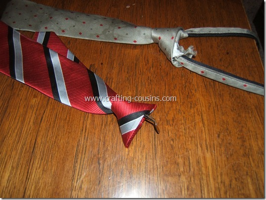 Repair a broken clip on tie.  Tips from the Crafty Cousins (1)