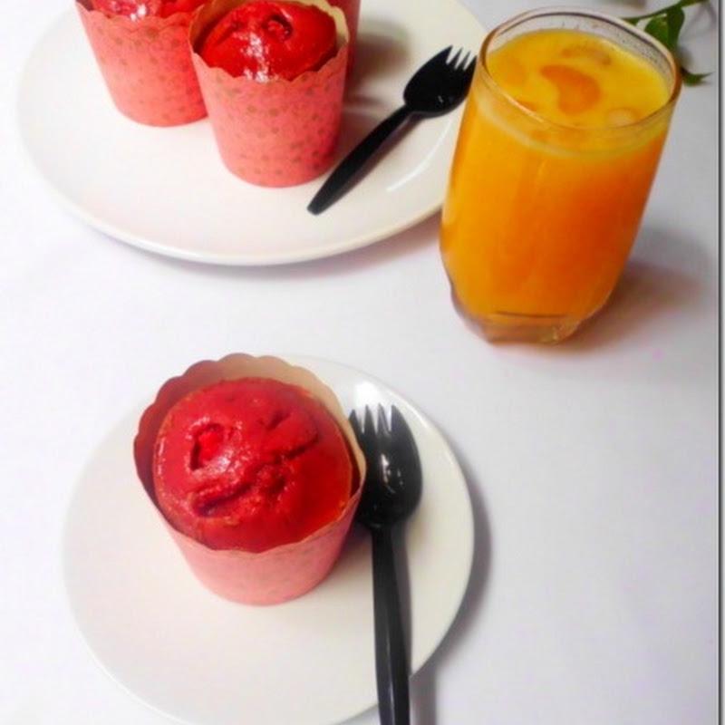 Eggless Strawberry & Banana Muffins