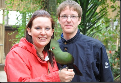 Christina & Paul with Damien (Green Crested Touraco) resized DSC_1133