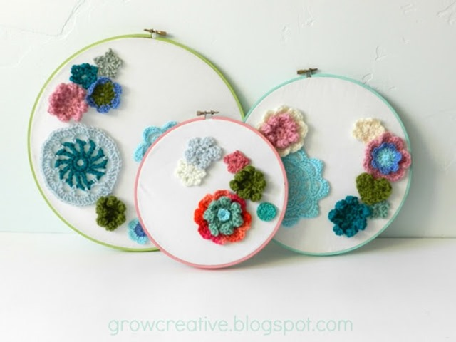 Crochet Flowers in an embroidery hoop | DETAILS