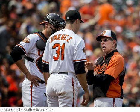 'Dave Wallace, Ubaldo Jimenez' photo (c) 2014, Keith Allison - license: https://creativecommons.org/licenses/by-sa/2.0/