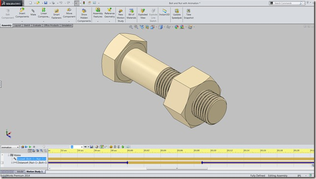 Animation by Precise Positioning Display in Bolt and Nut