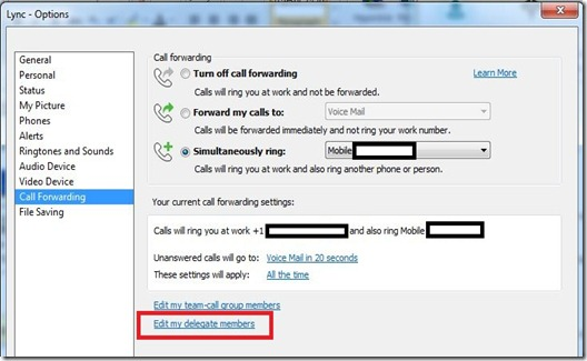 Lync Delegate - EV option - markup