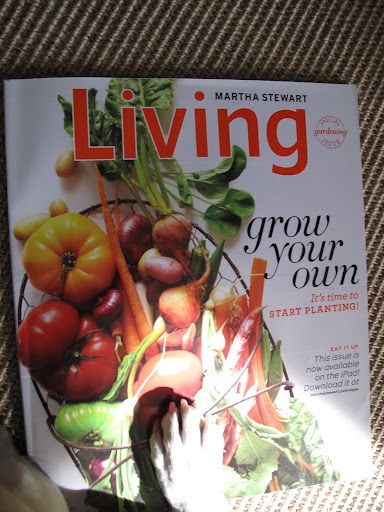 Oh, what a colorful cover of the new March issue of Martha Stewart Living.  Does this mean we have vegetables in the garden already?