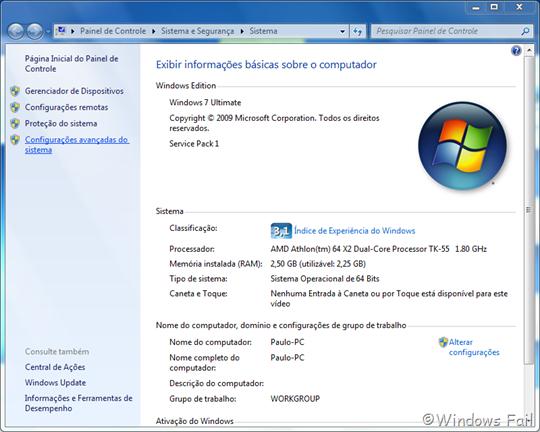 No painel esquerdo, clique em Configurações avançadas do sistema. Uma janela irá abrir.