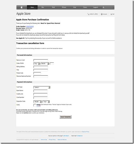 Esimerkki huijaussivustosta johon Applen nimissä lähetetty sähköpostiviesti ohjaa