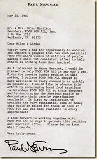 Paul Newman Letter May 87