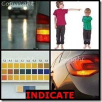 INDICATE- 4 Pics 1 Word Answers 3 Letters