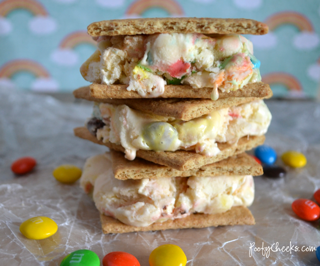 Banana M&M Ice-Cream Sandwiches