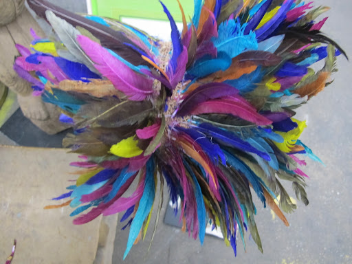 Look at this beautiful African headdress. I couldn't help but pine over the layered texture and vibrant colors.