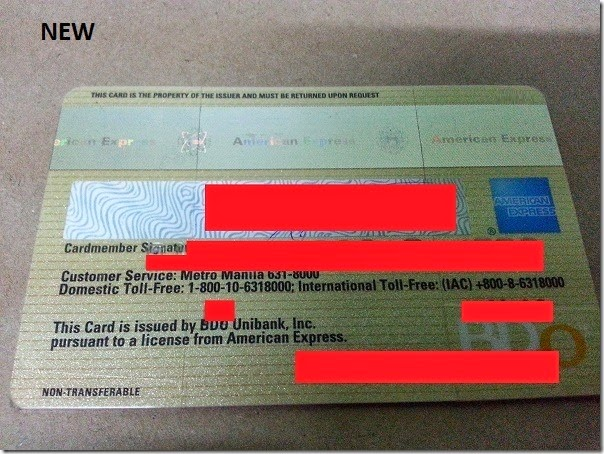 Renewed credit card (back)