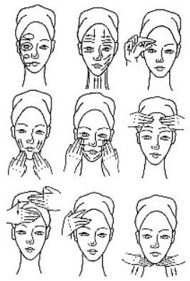 схемы выполнения массажа лица