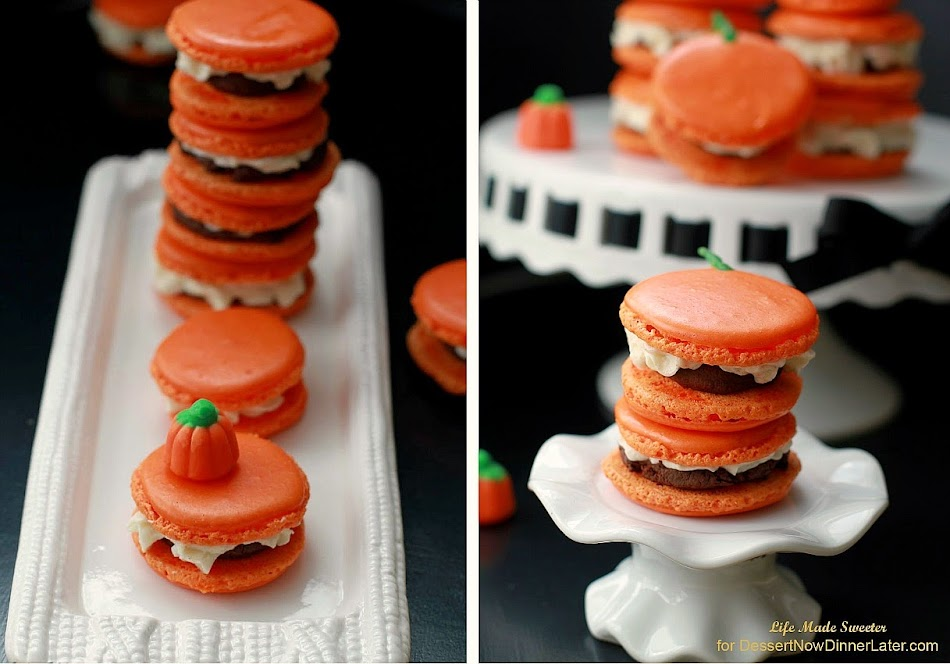 Triple Pumpkin Spiced Macarons with Pumpkin Ganache and Buttercream Frosting - @LifeMadeSweeter.jpg