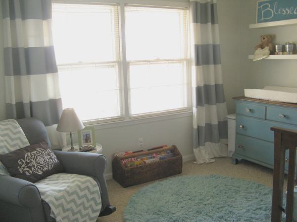 gray and aqua nursery window wall
