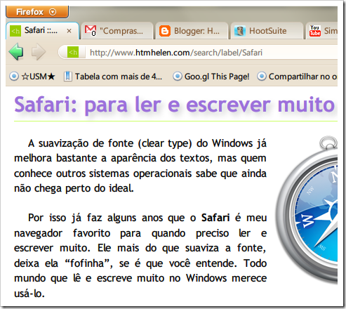 Meu Firefox est quase um Safari