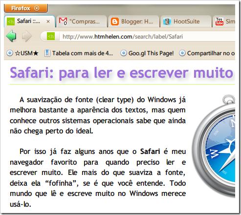 Meu Firefox está quase um Safari