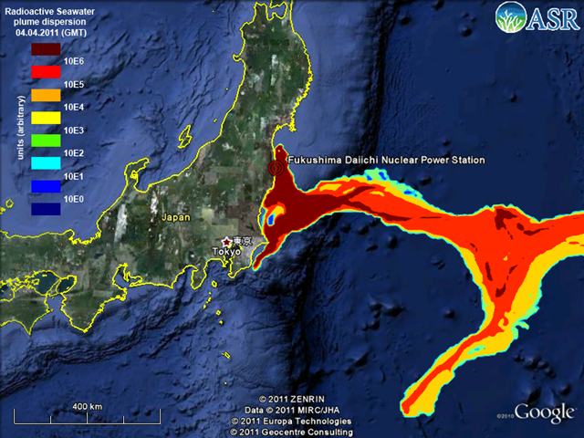 Estimated radioactive seawater plume dispersion from Fukushima Daiichi nuclear plant, 4 April 2011. ASR