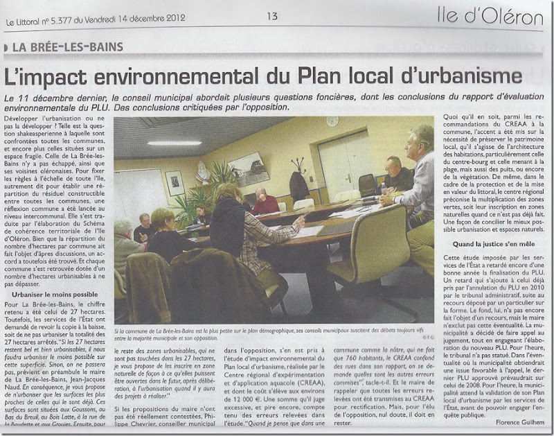 JOURNAL LITTORAL DU 15.12.2012