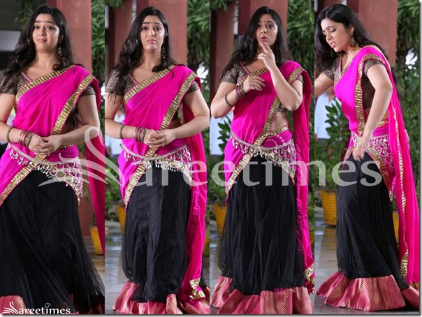 Charmi_Pink_Black_Half_Saree