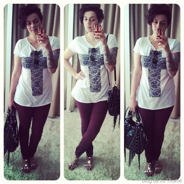 look calça jeans burgundy tshirt cruz