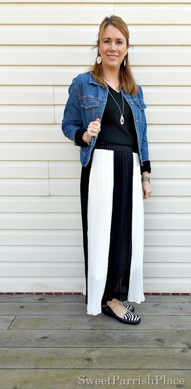 black and white striped maxi skirt, black shirt, Denim jacket, zebra flats1