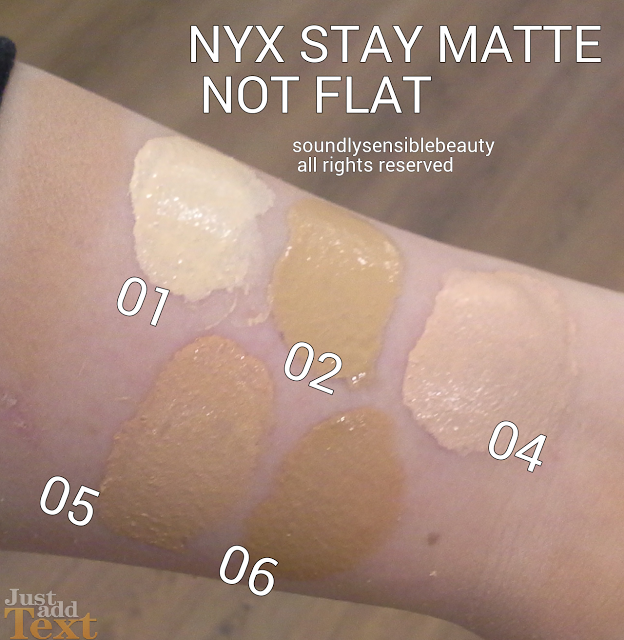 NYX Stay Matte Not Flat Foundation Review Swatches of Shades  01- Ivory 02- Nude 04 Creamy Natural 05 Soft Beige 06 Medium Beige