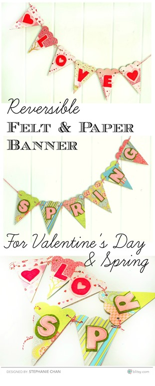 Reversible Felt and Paper Banner - Valentines Day to Spring