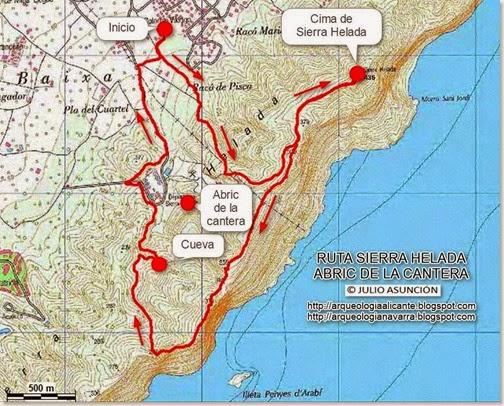 Mapa ruta sierra Helada - Abric de la cantera