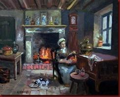 Interior con gato (50x40)