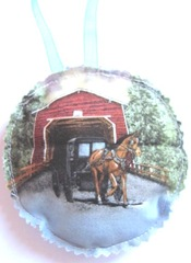 2011 fabric ornament front horse covered bridge