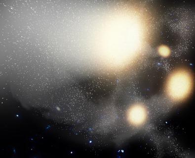 ilustração da colisão das quatro galáxias