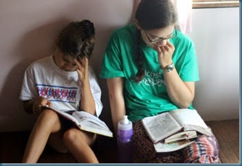 Edi & Katherine reading Bibles