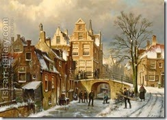 Figures-On-A-Frozen-Canal-In-A-Dutch-Town