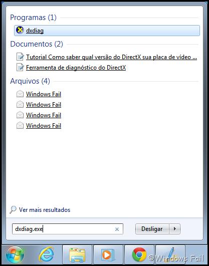 """Abra o menu Iniciar e digite na caixa de pesquisa """"dxdiag.exe"""", depois dê Enter"""