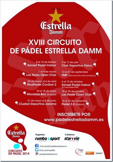 Circuito de Pádel Estrella Damm 2014: Calendario Oficial con todas las pruebas.
