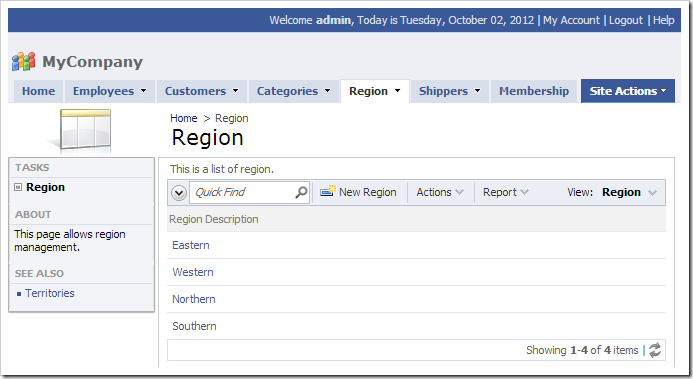 Region page added to the web application.