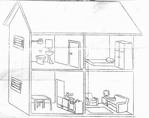 Imágenes de la casa para pintar y sus partes en inglés - Imagui