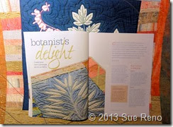 Sue Reno, Botanist's Delight, Quilting Arts Magazine