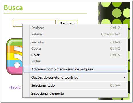 Adicionar como mecanismo de pesquisa no Chrome