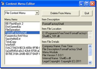 Context Menu Editor
