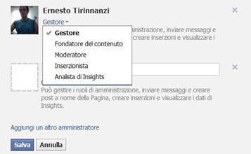 ruoli di amministratore facebook
