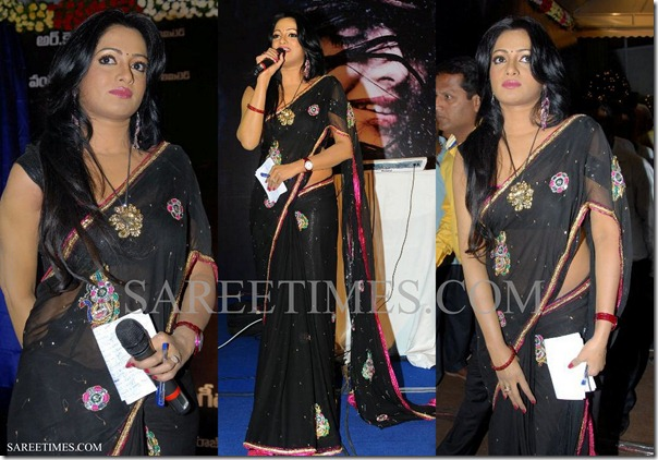 Udaya_Bhanu_Black_Saree