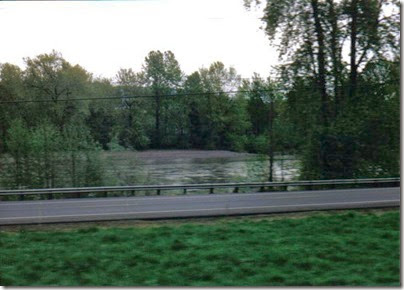 View of the Cowlitz River from the Weyerhaeuser Woods Railroad (WTCX) at Milco, Washington on May 17, 2005