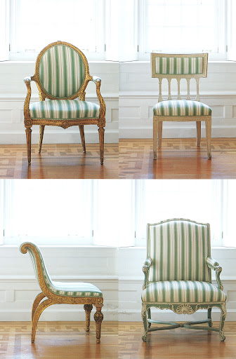 One pattern unifies four different style chairs.