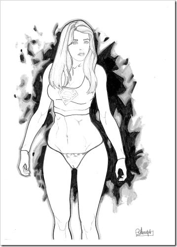 comics art super girl pinup