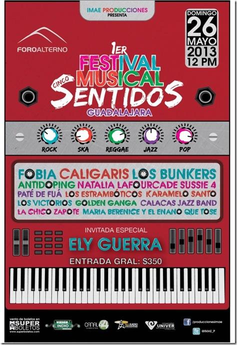Festival cinco sentidos en gdl 2013 fobia caligaris cartele oficial