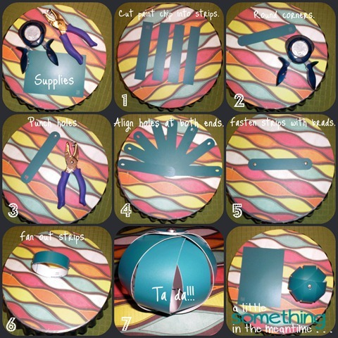 paint chip ball tutorial collage