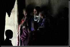 October 23, 2012 Masai mother and kids in hut